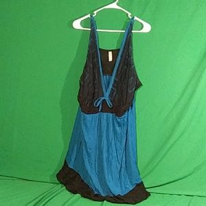 Cacique sz 26/28 teal/black lace nightgown